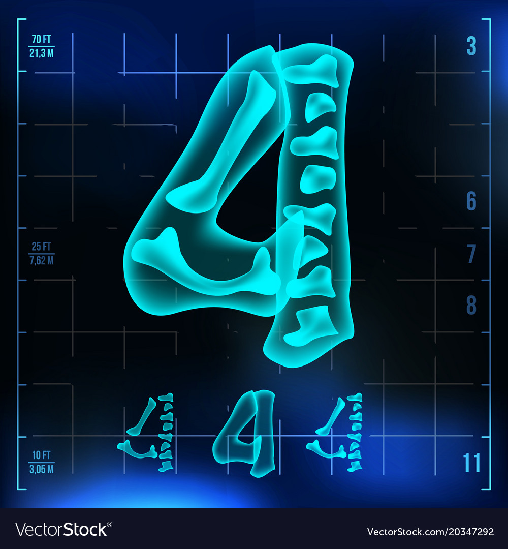 4 number four roentgen x-ray font light vector image