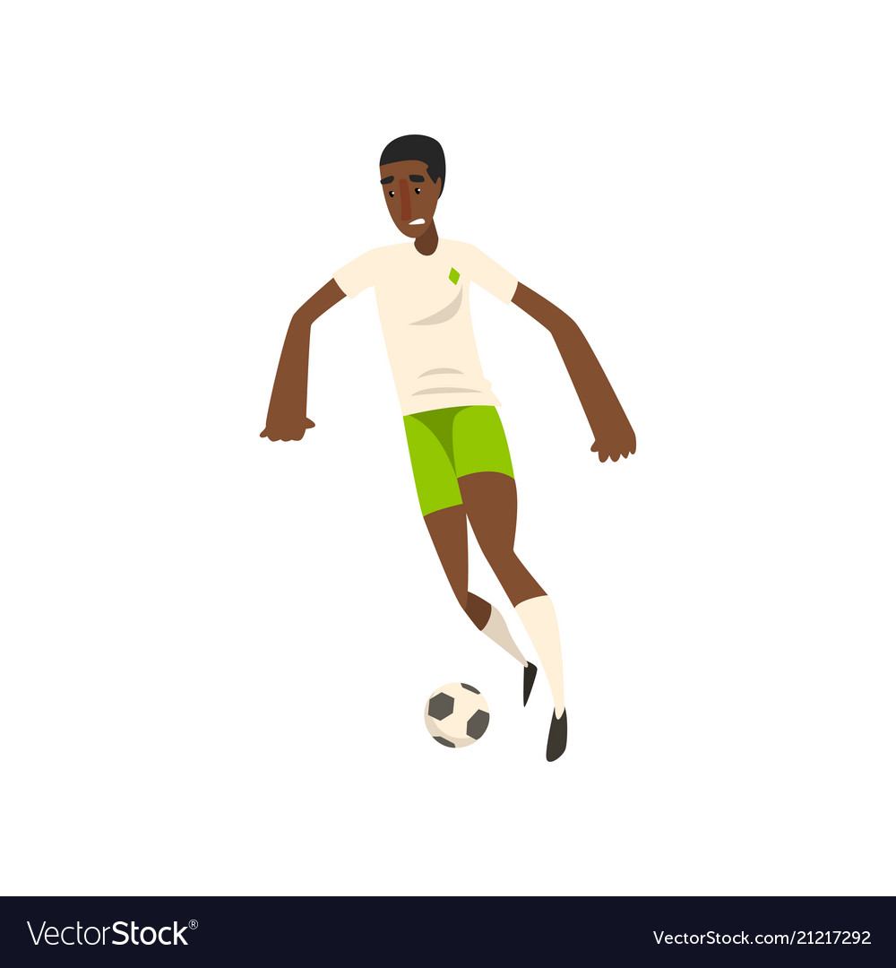 African american soccer player kicking the ball