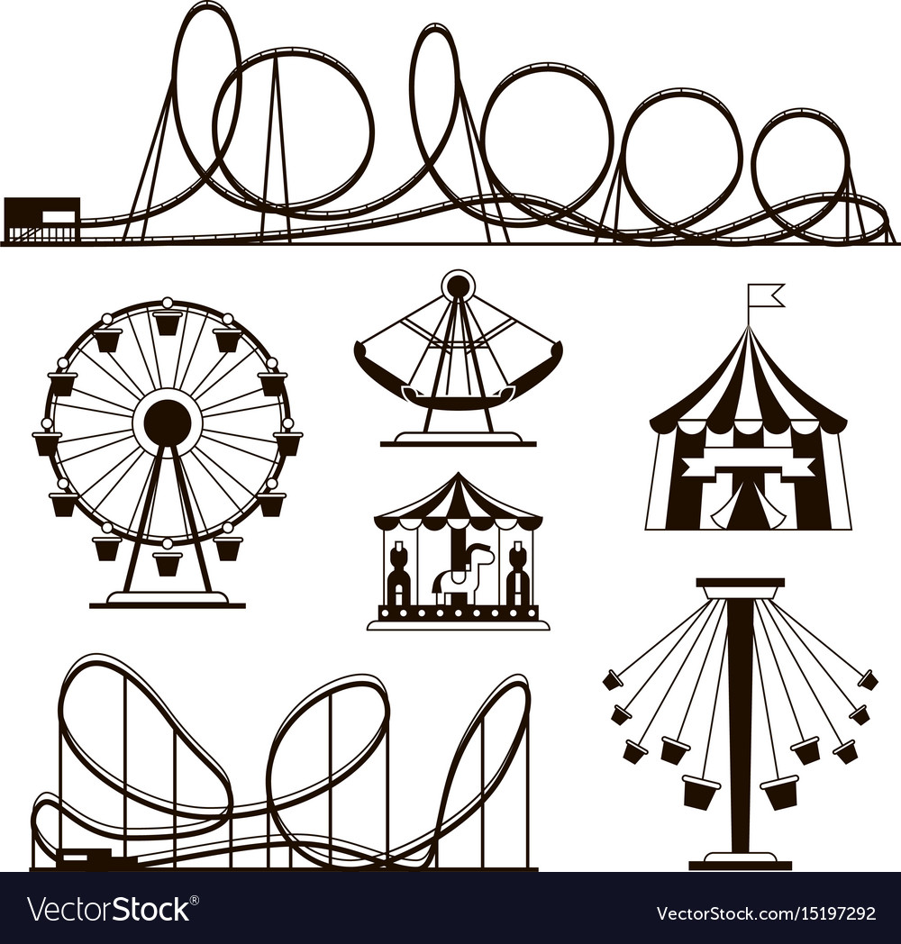 Amusement park roller coasters and carousel