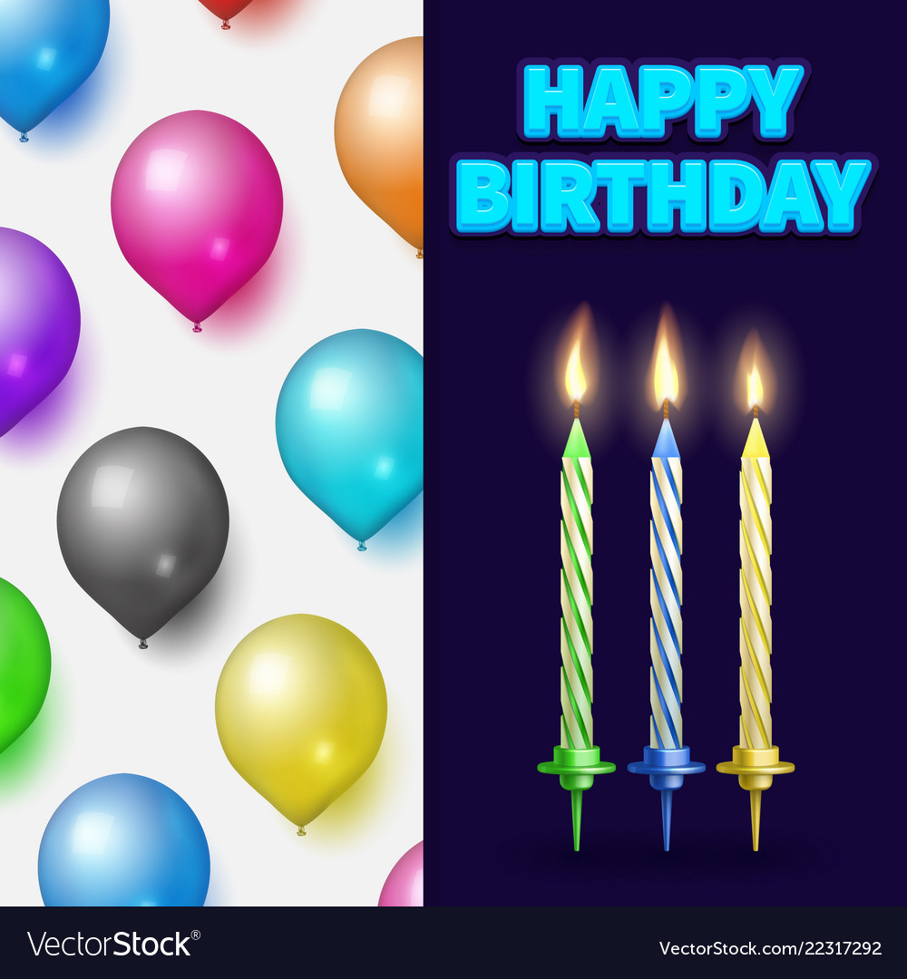 Birthday party banner or card with cake candles