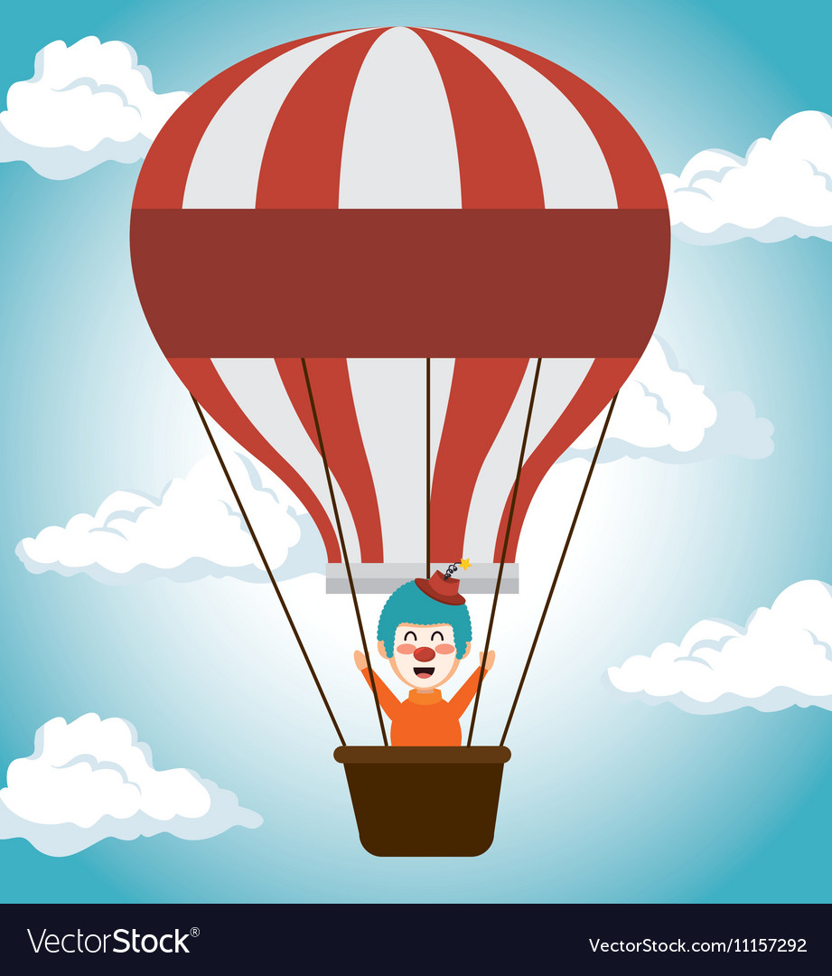 Clown airballoons festival funfair icon vector image