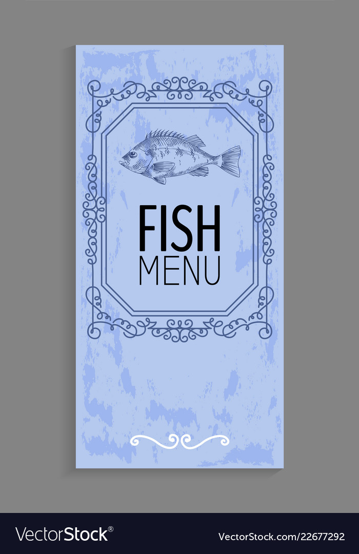 Fish menu with bass depiction and twirl decoration