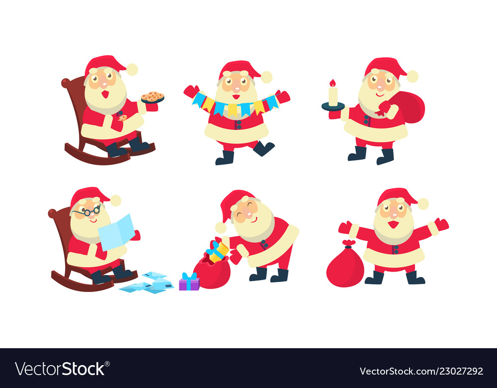 Flat set of santa claus in different