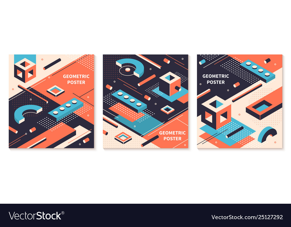 Isometric shapes poster 3d abstract geometric