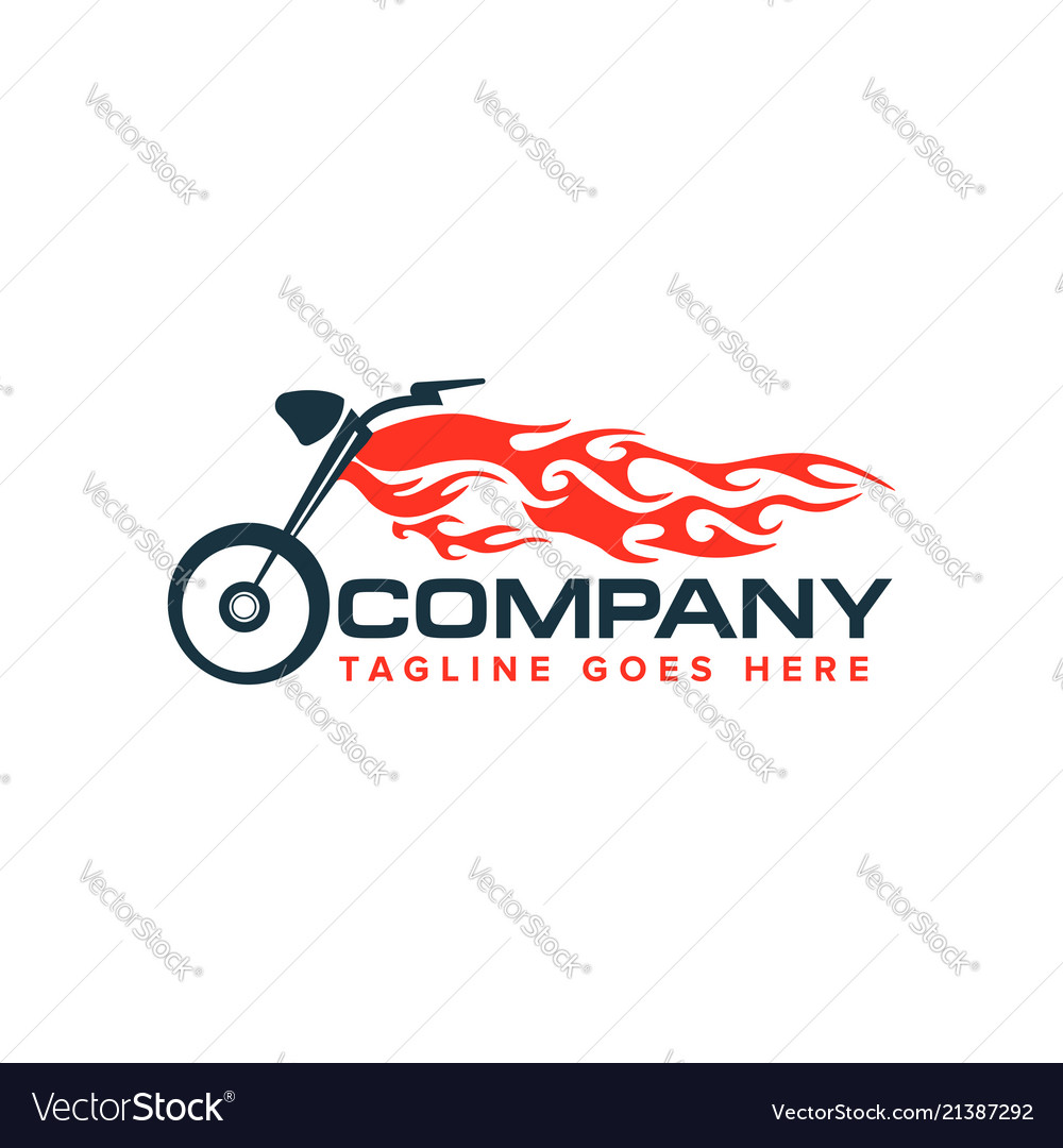 Motorcycle with flame logo auto race motor bike