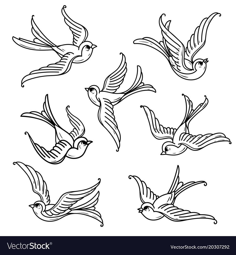 Set of flying bluebirds free birdssymbol of hope