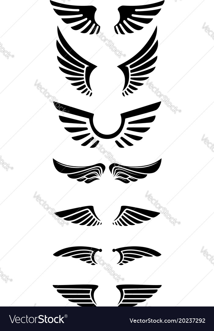 Set of wings icons design elements for logo label