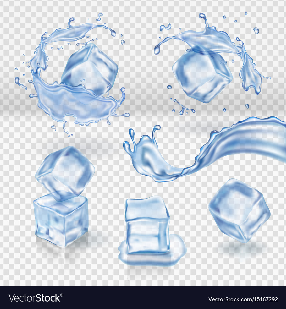 Transparent water splash and ice cubes