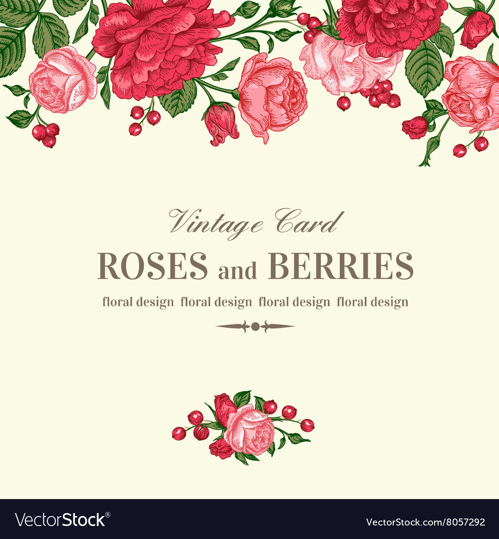 Vintage wedding invitation with pink and red roses