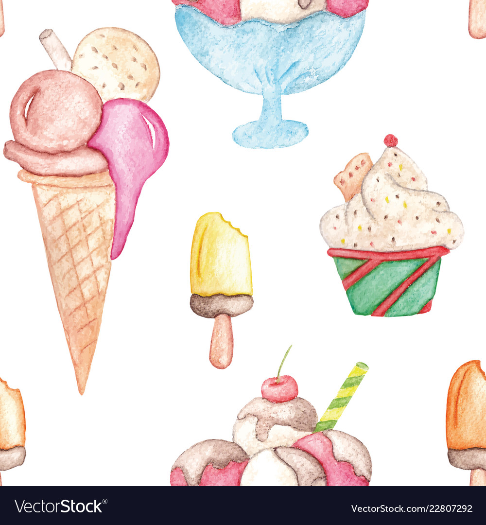 Watercolor ice cream pattern colorful summer