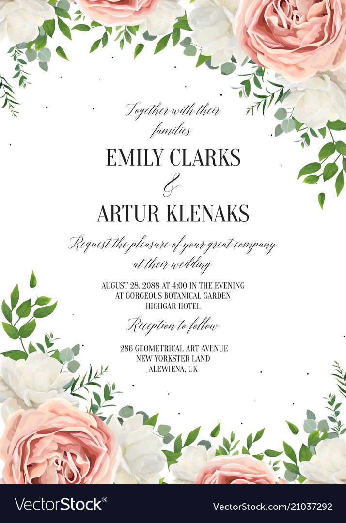 Wedding floral invite invitation save date card vector