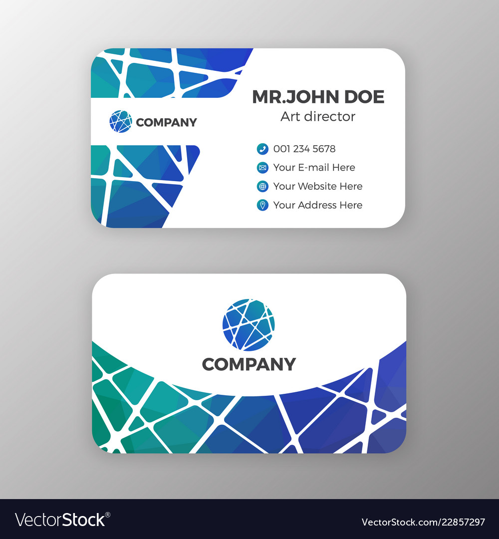 Abstract mesh and polygonal name card template