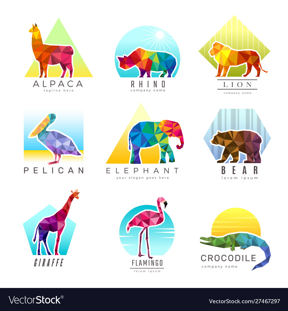 Animals logo zoo low poly triangular geometric