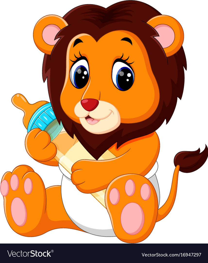 Aninimal Book: Cute baby lion cartoon Royalty Free Vector Image