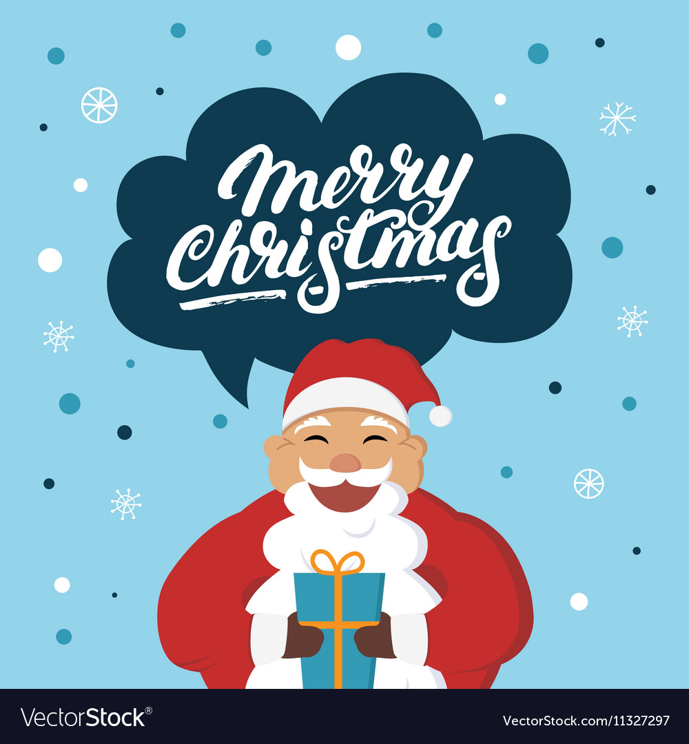 Merry Christmas Wishes Funny.Funny Santa Claus With A Gift Wishes You Merry