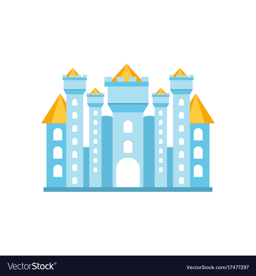Light blue fairytale royal castle or palace