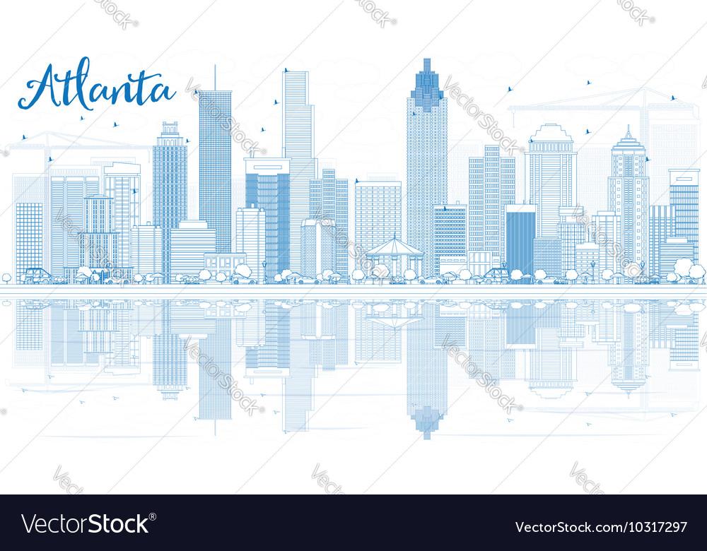 outline atlanta skyline with blue buildings vector image
