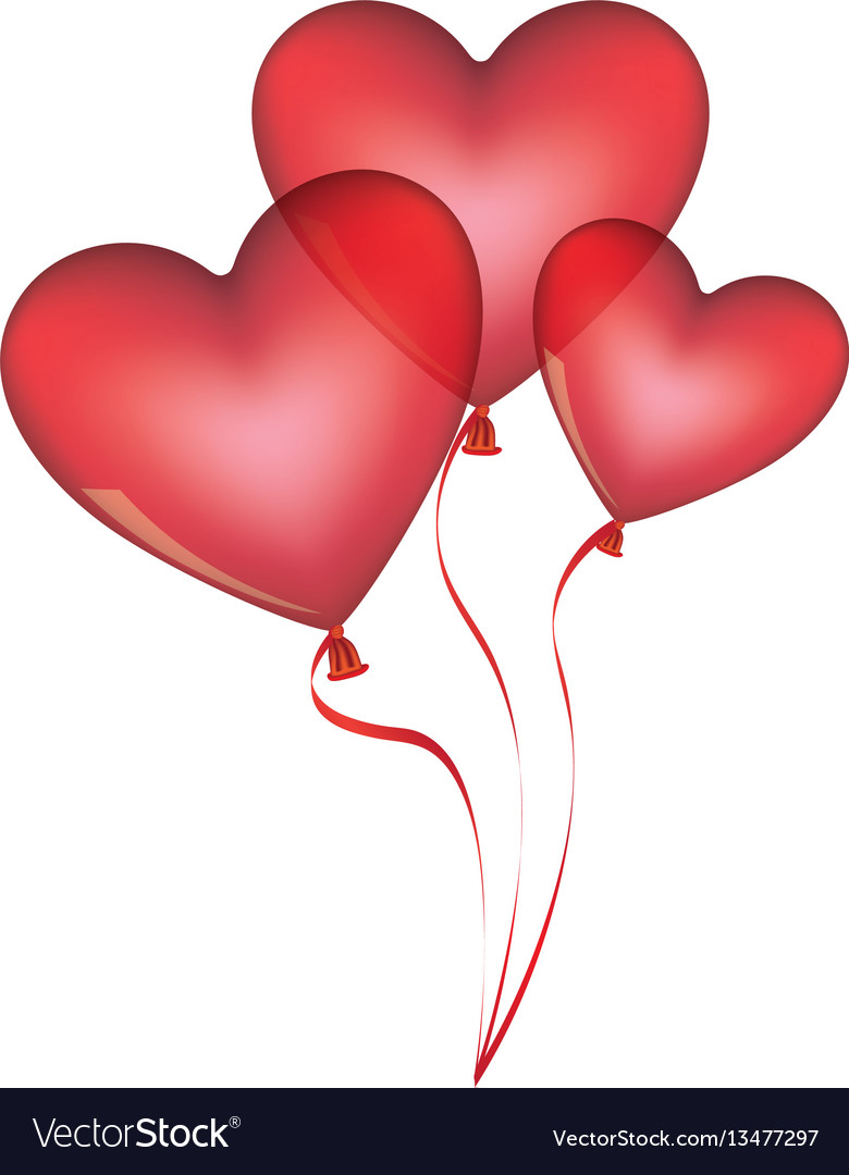 Red balloons set in heart shape design vector image