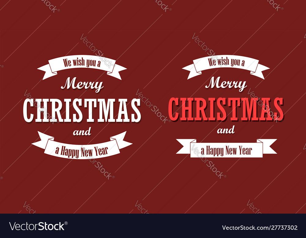 Christmas text white ribbon set merry