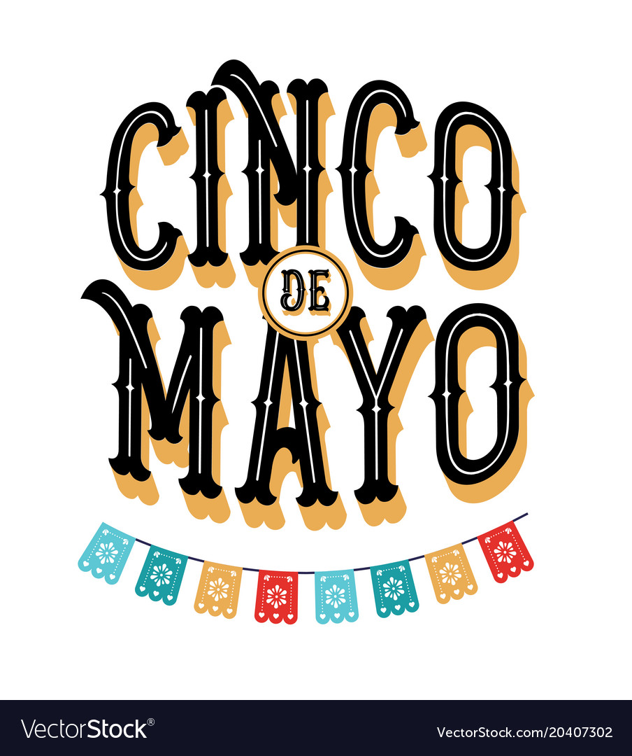 Cinco de mayo poster design with flags vector image