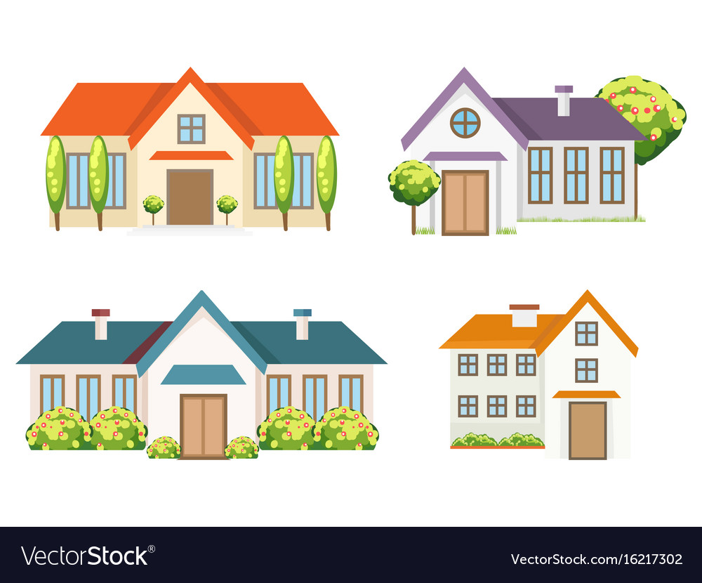 Colorful residential houses collection