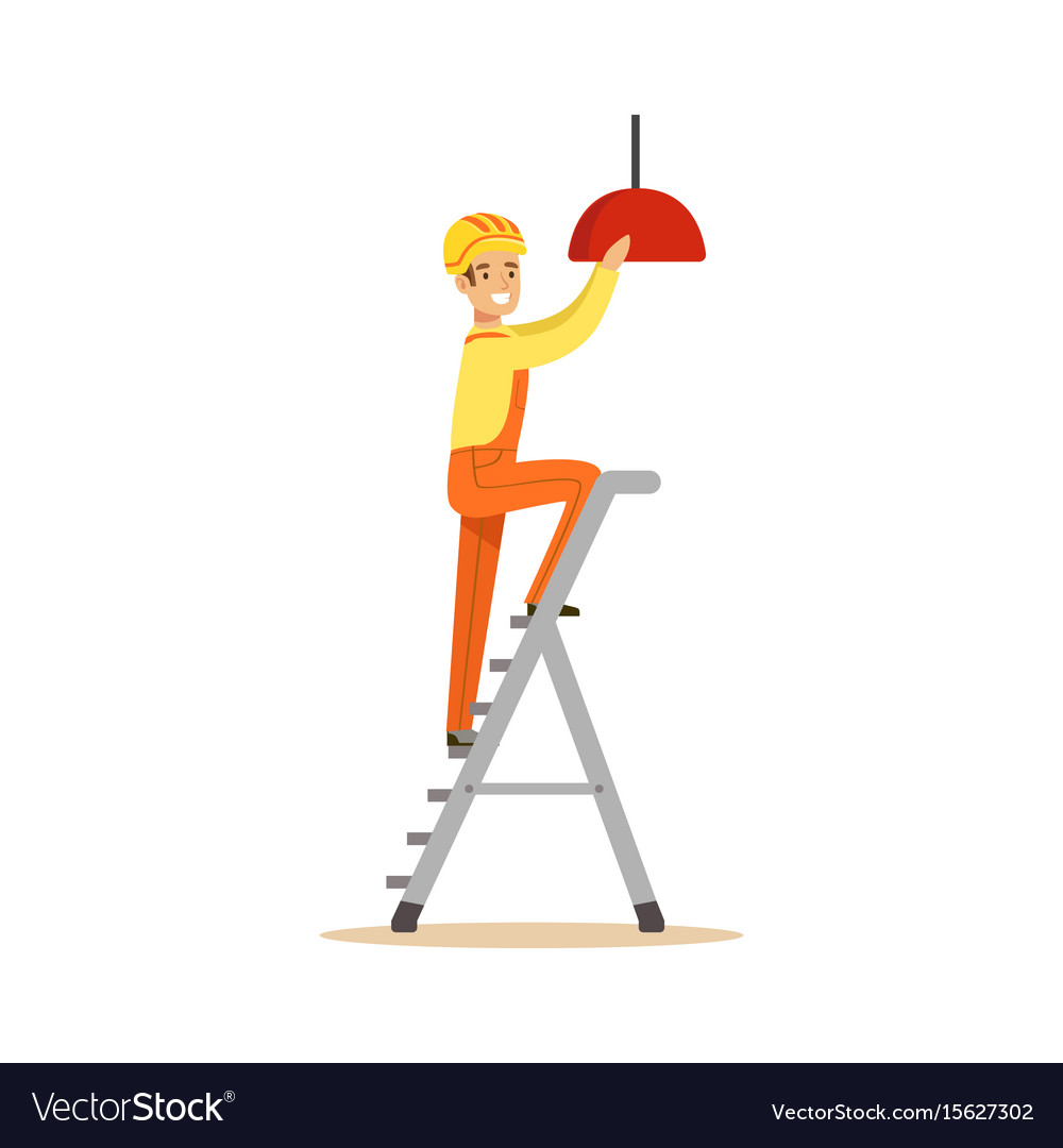 Electrician standing on a stepladder installing