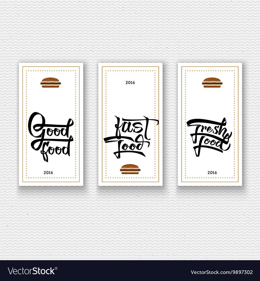 Fast fresh good food labels stickers hand