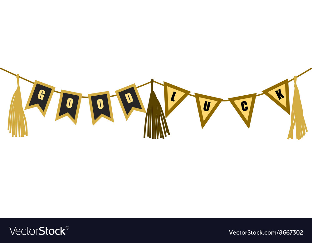 Flat good luck banner Gold and black