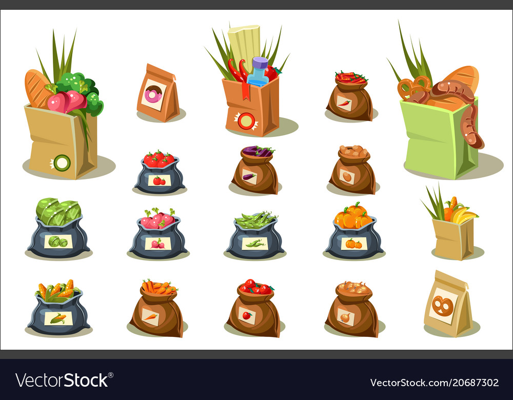 Flat set of farm products natural food