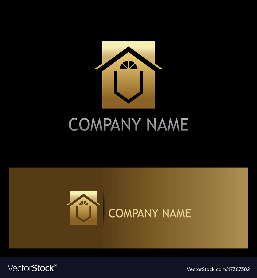 Home decoration window gold logo vector image