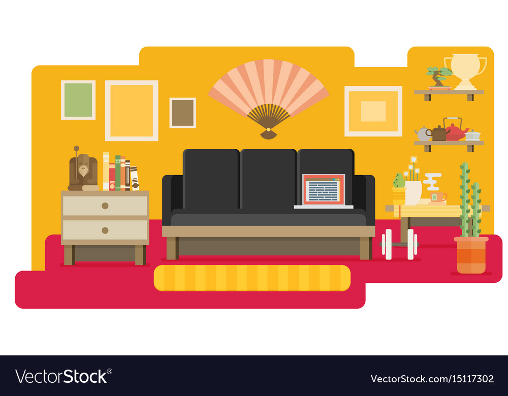 Home workplace flat design workspace for