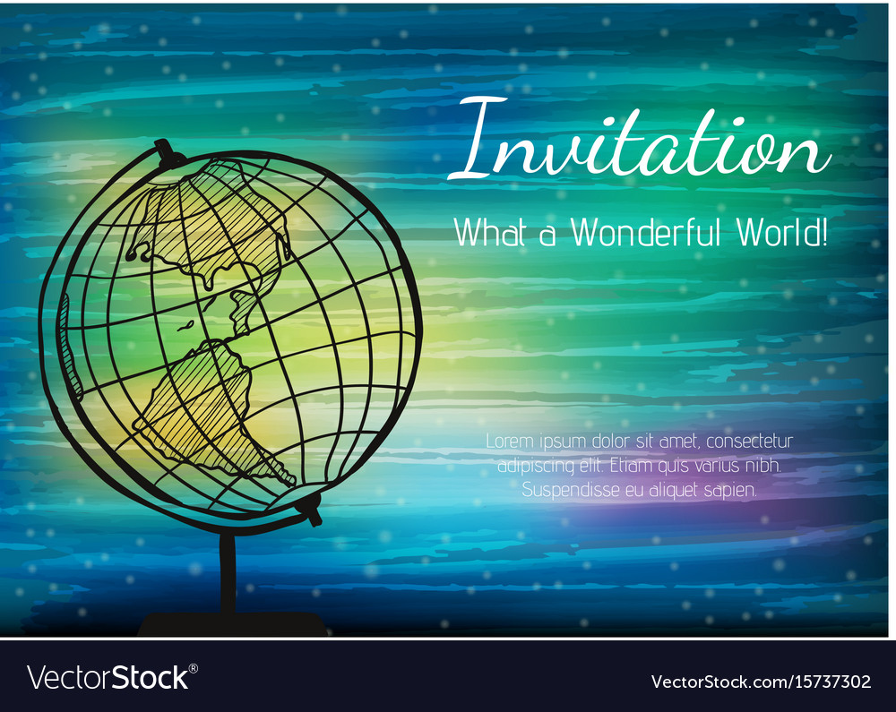 The globe on the digital watercolor background vector image