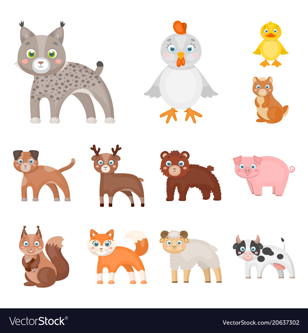 Toy animals cartoon icons in set collection for
