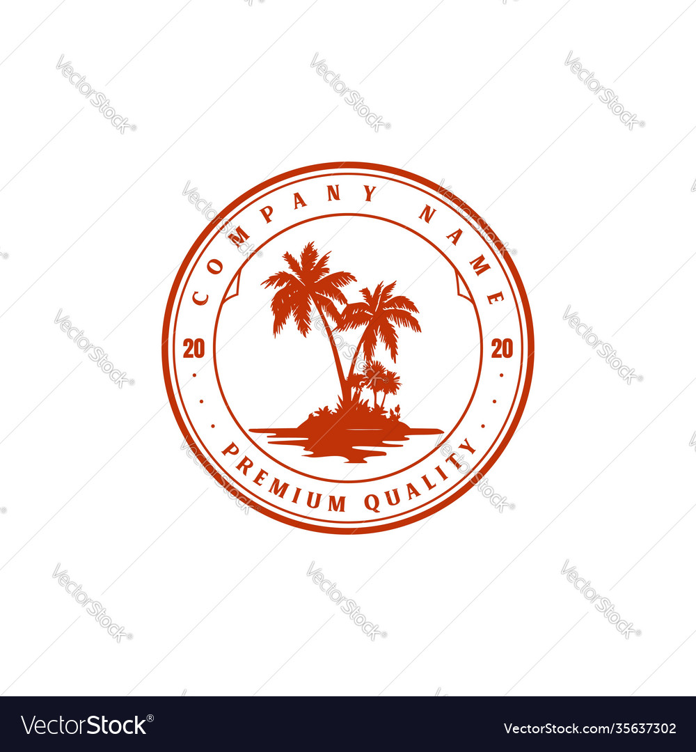 Vintage retro palm coconut tree island logo design