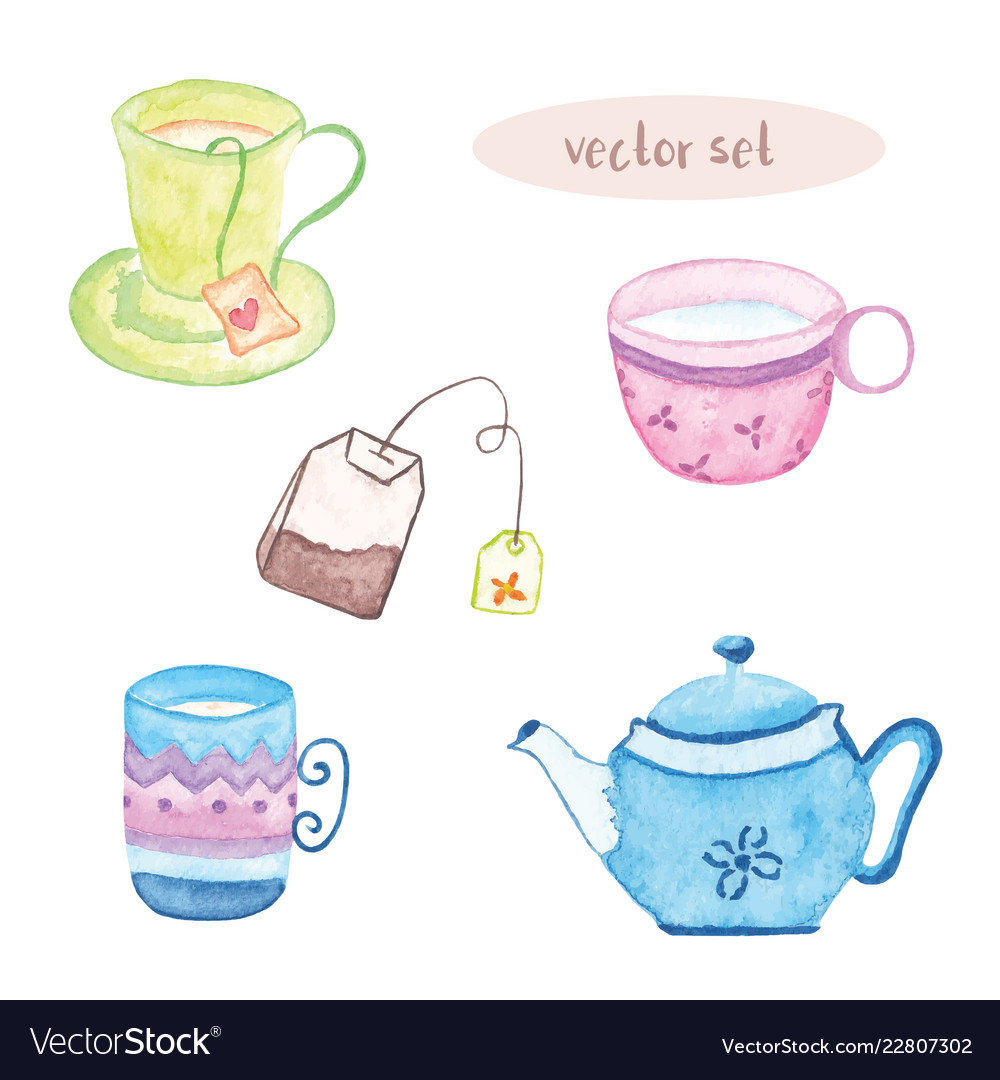 Watercolor set of tea isolated