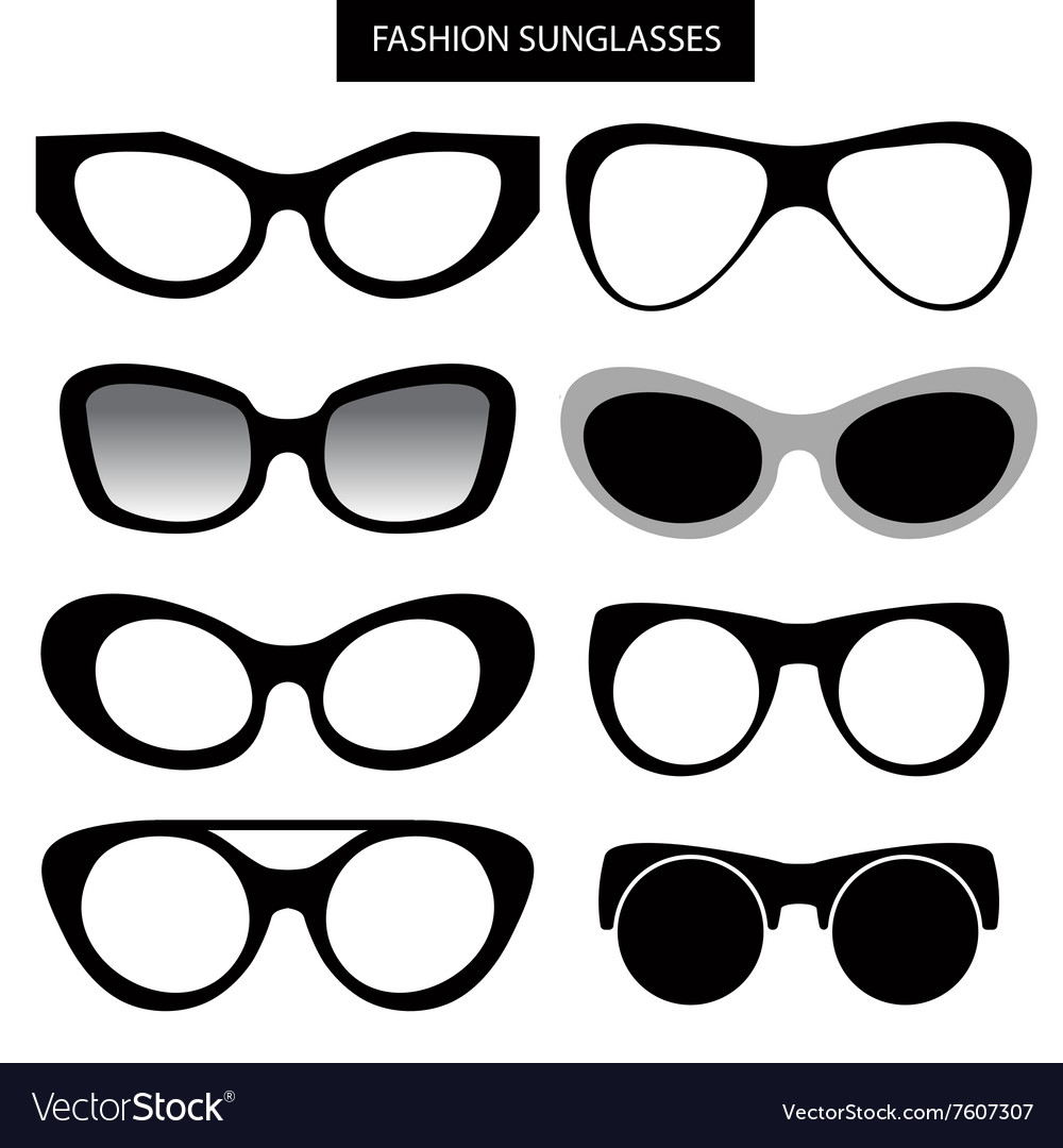 A set of fashion sunglasses and frames Cat Eye Vector Image