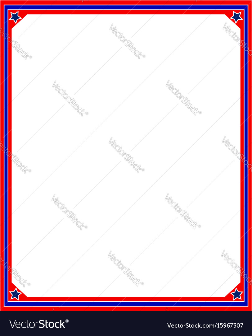 American flag border frame in red and blue colors