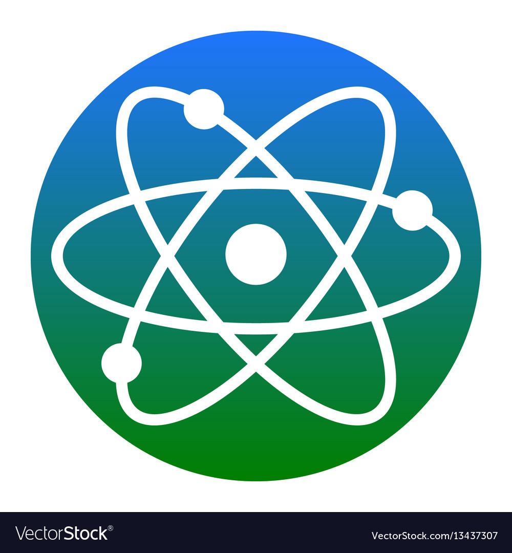Atom sign white icon in