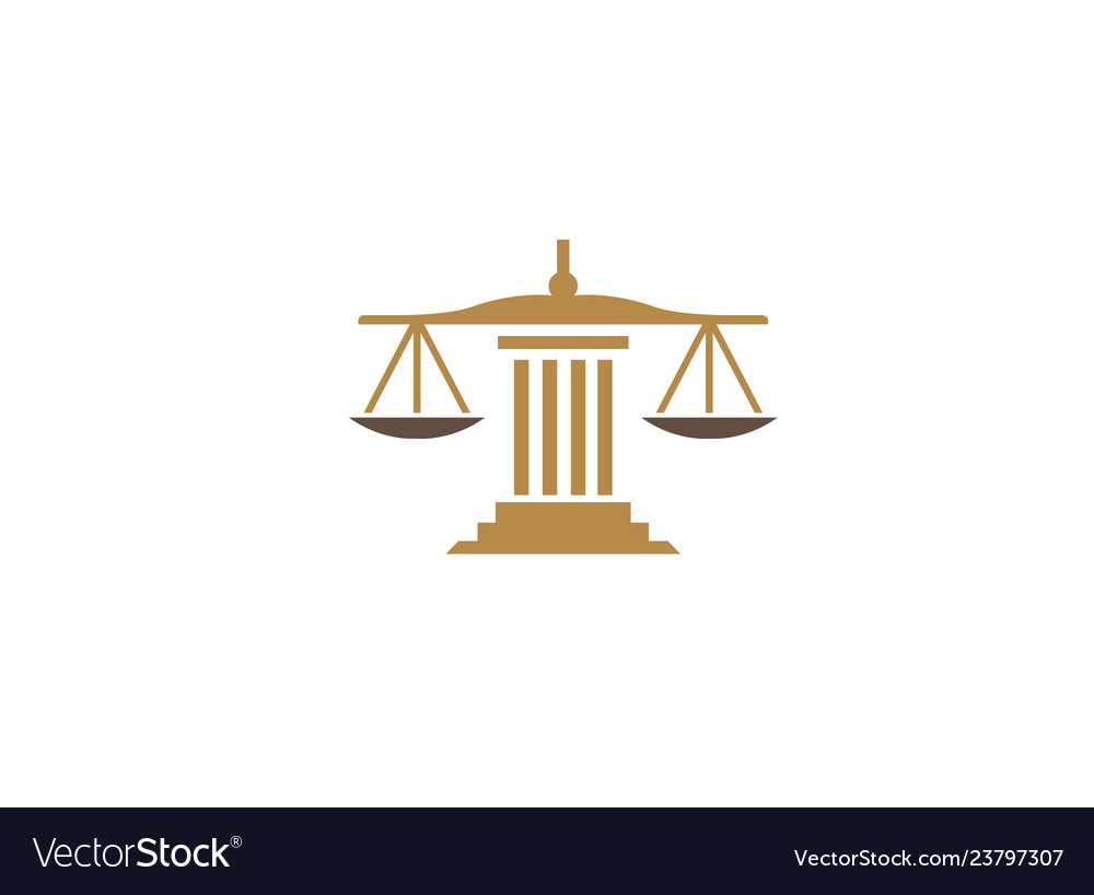 Balance scales on a law building justice for logo