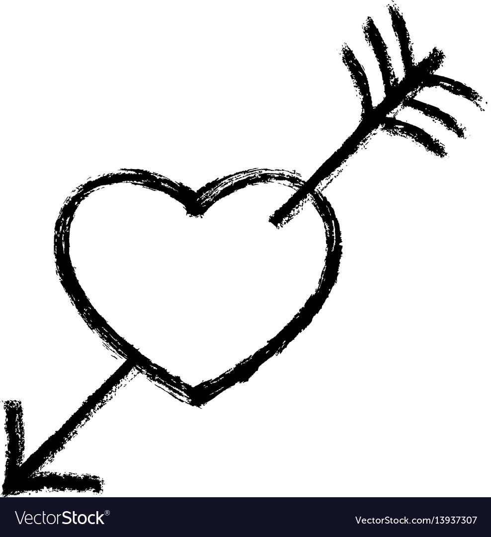 Black heart pierced arrow