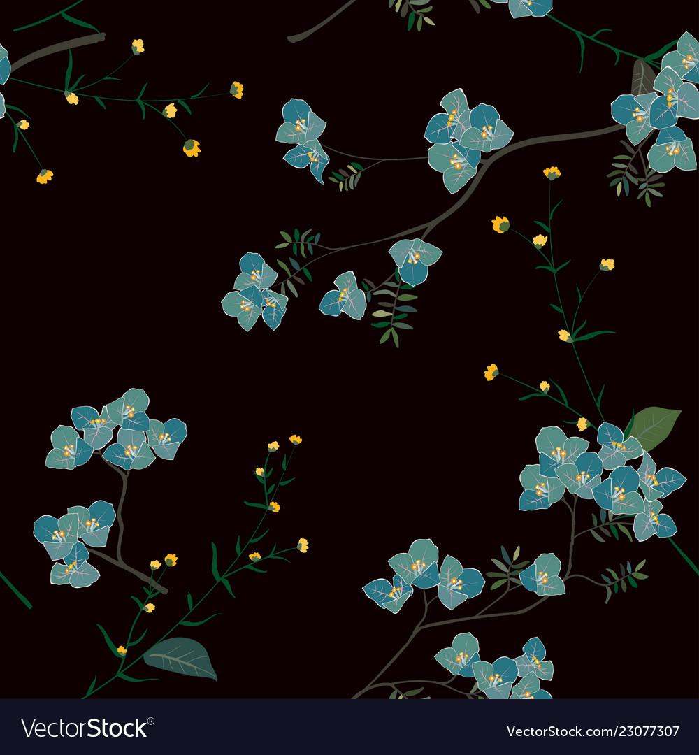 Blue blooming flower seamless pattern