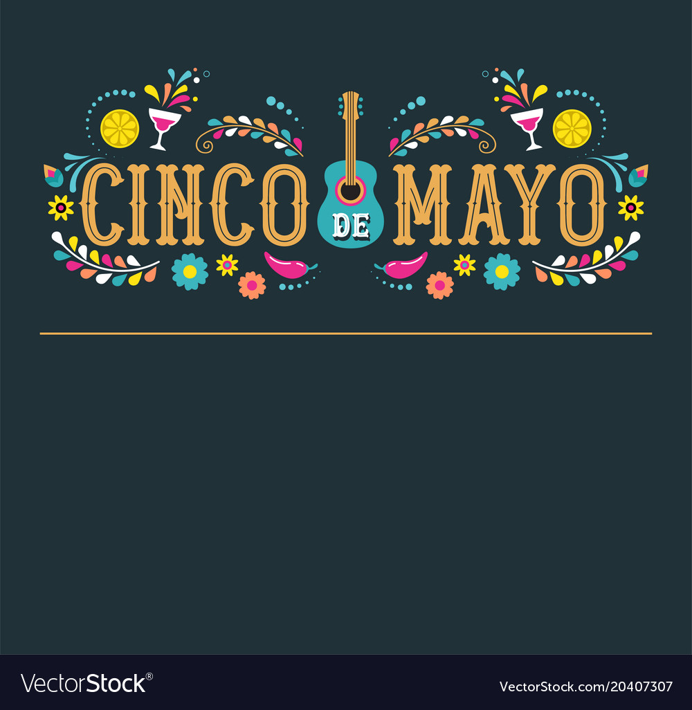 Cinco de mayo fiesta poster design with flags vector image