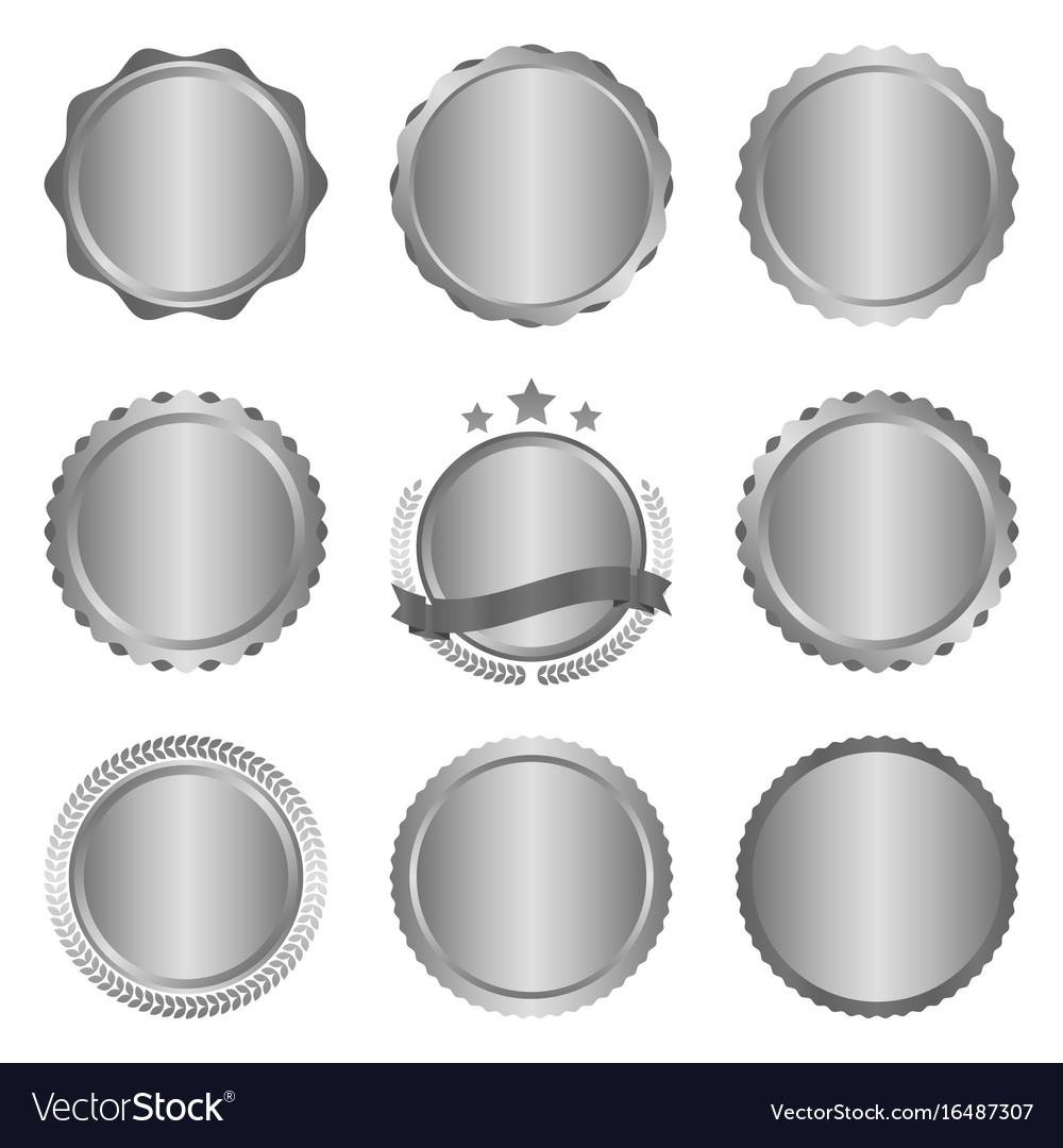 Collection of modern metal silver circle metal