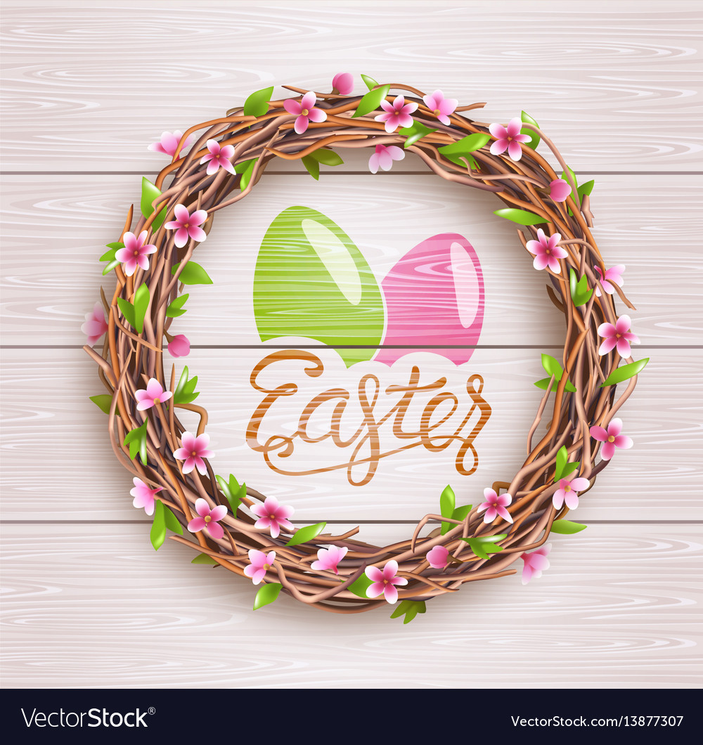 Easter festive twigs wreath with flowers on