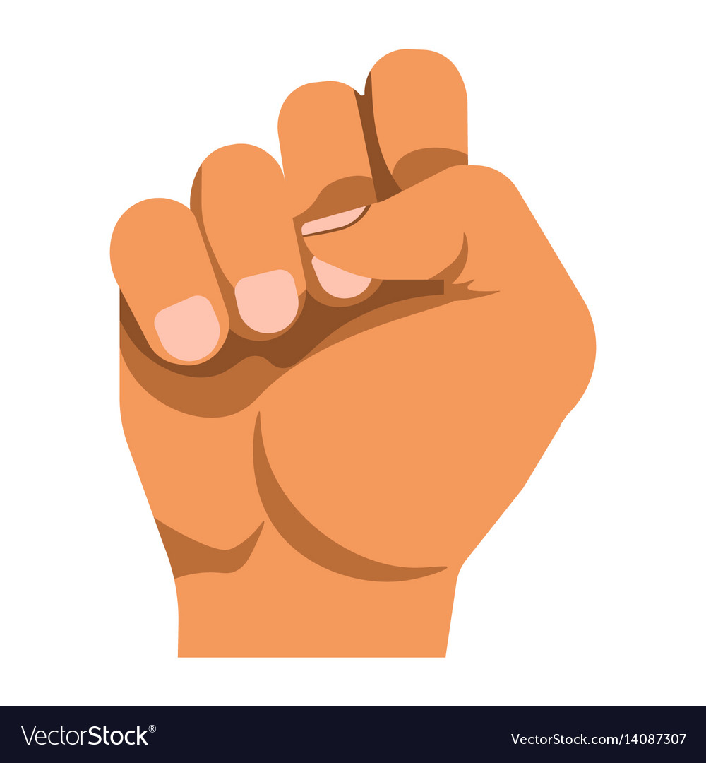 Human fist as protest nonverbal mean of vector image