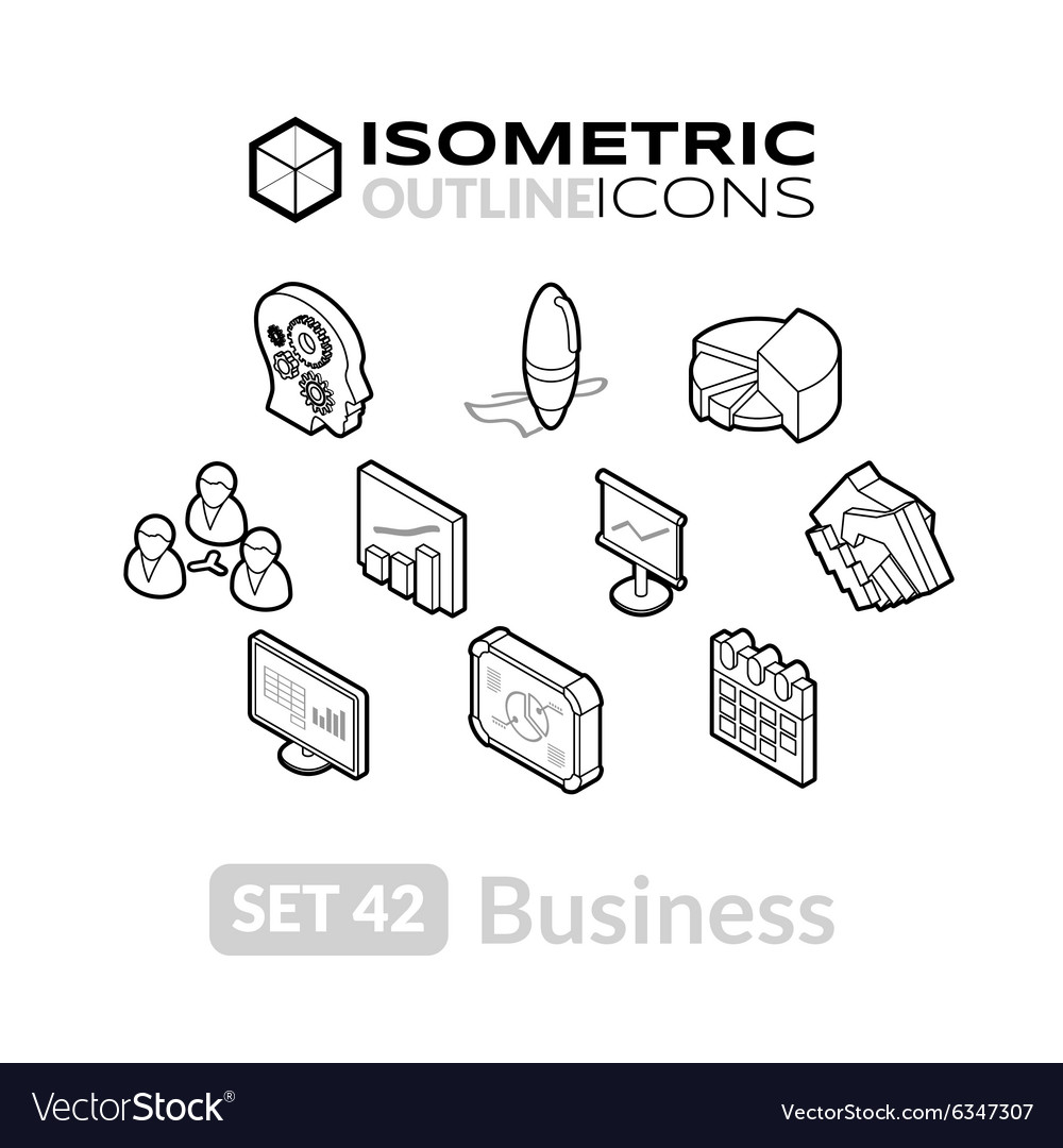 Isometric outline icons set 42