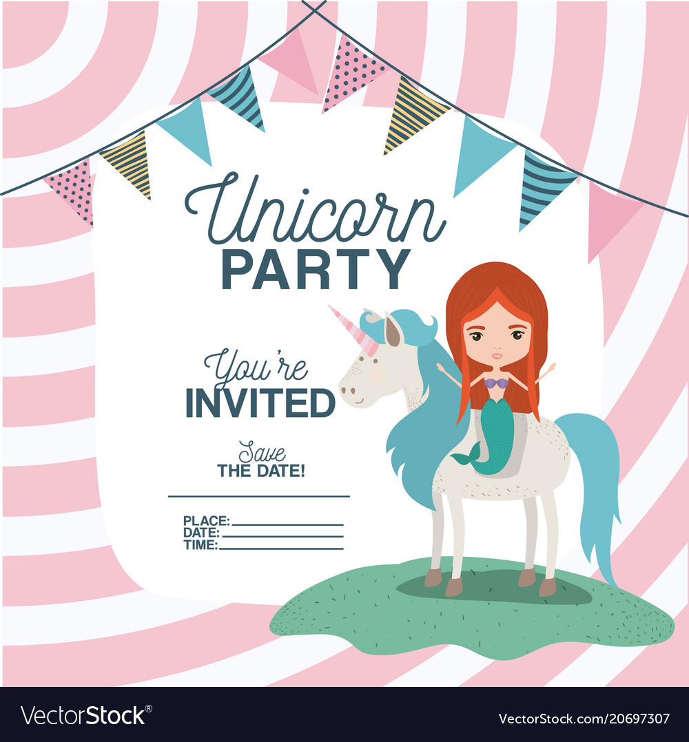 Mermaid with unicorn invitation card Royalty Free Vector