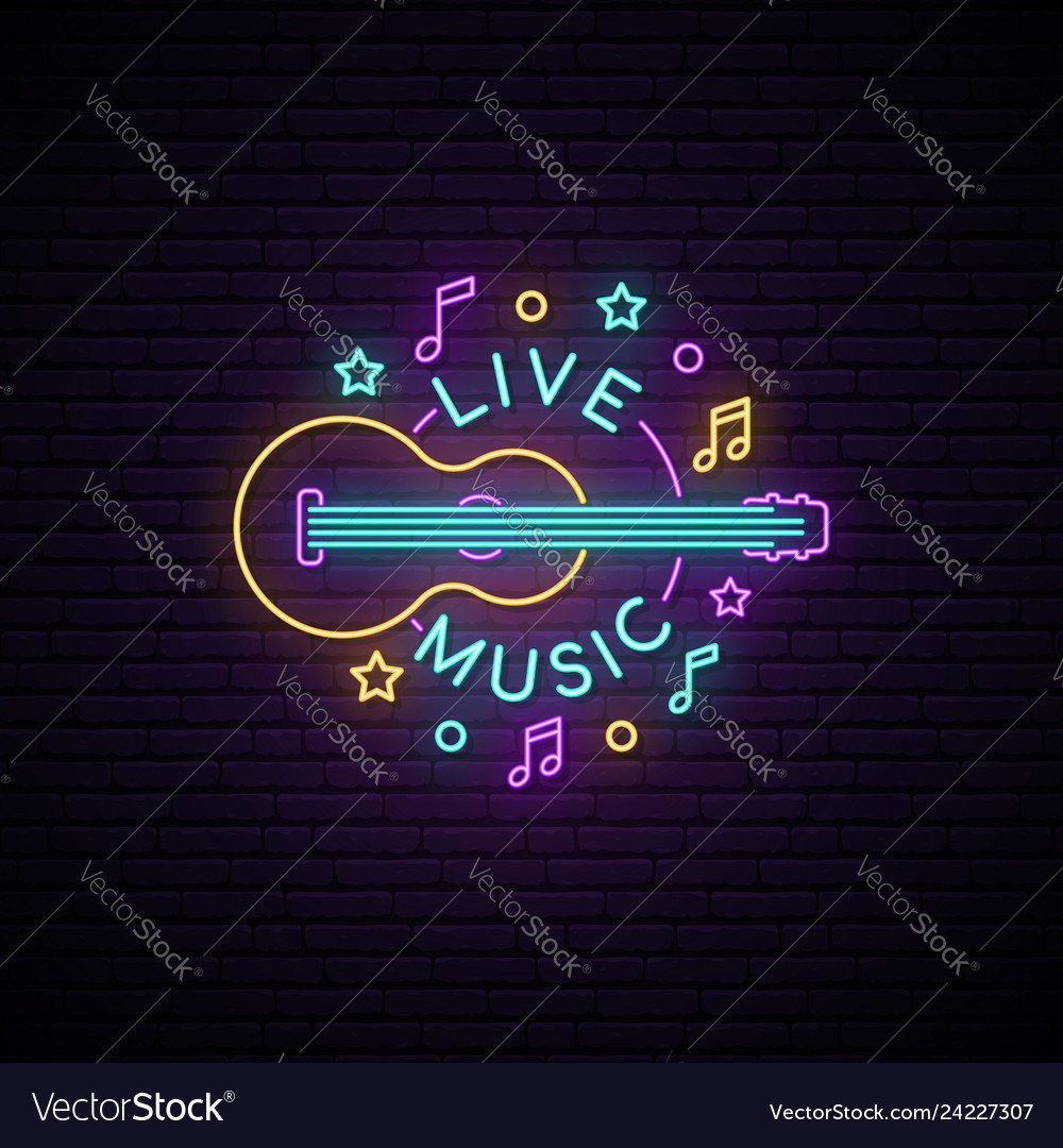 Neon live music sign light signboard with guitar