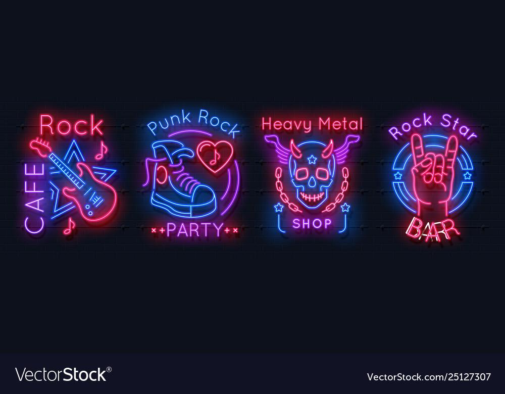Rock music neon sign metal band vintage poster