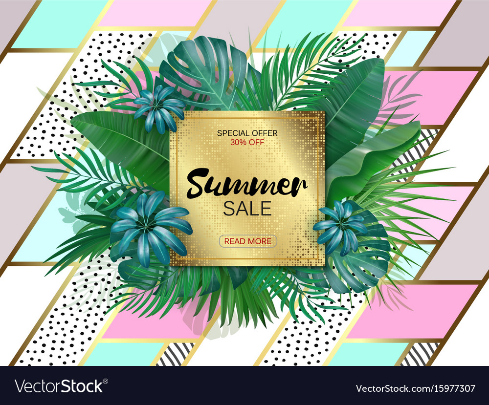 Sale square summer sale tropical leaves frame on